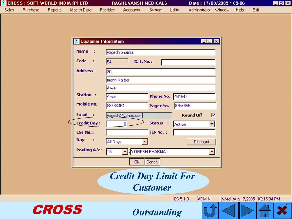 CROSS Credit Day Limit For Customer Outstanding