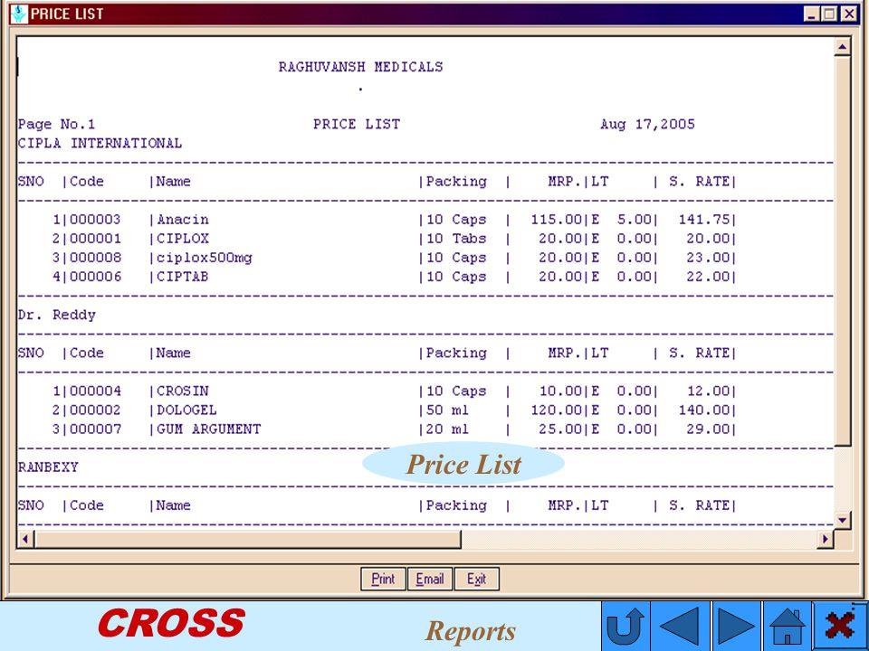 CROSS Price List Reports