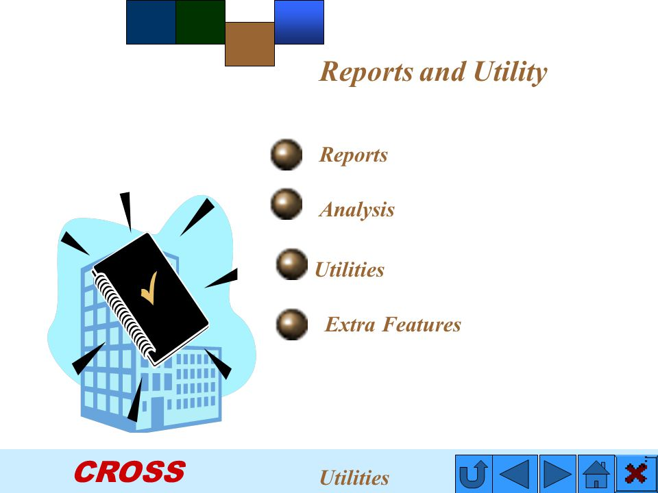 CROSS Reports Utilities Reports and Utility Analysis Extra Features Utilities