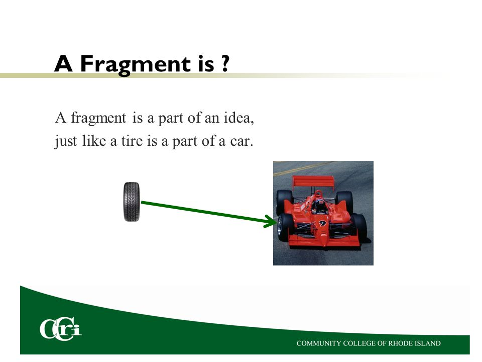 A Fragment is ? A fragment is a part of an idea, just like a tire is a part of a car.