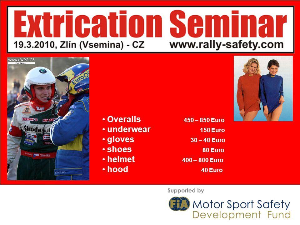 Overalls 450 – 850 Euro underwear 150 Euro gloves 30 – 40 Euro shoes 80 Euro helmet 400 – 800 Euro hood 40 Euro