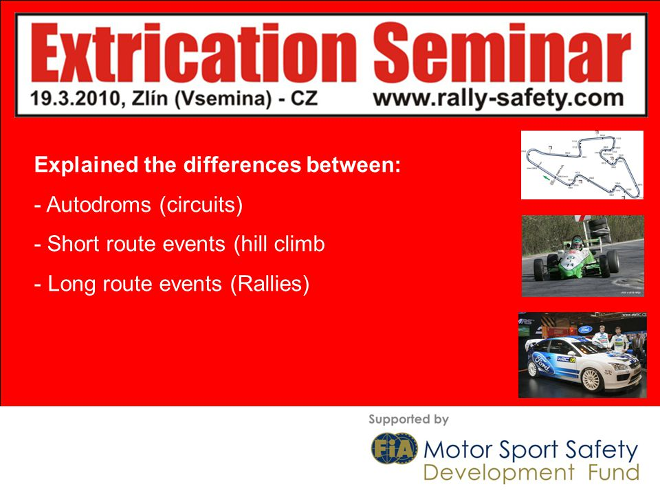 Explained the differences between: - Autodroms (circuits) - Short route events (hill climb - Long route events (Rallies)