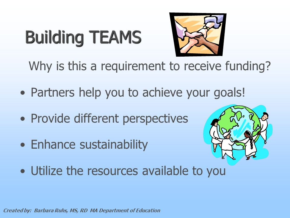 Building TEAMS Why is this a requirement to receive funding.