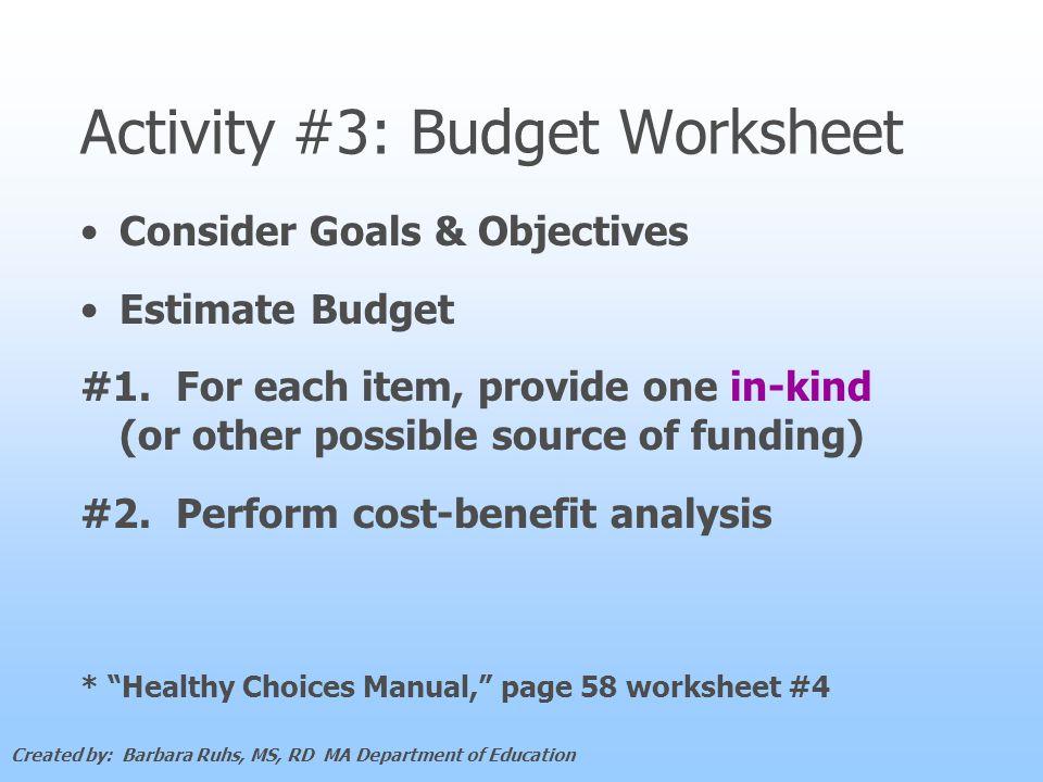 Activity #3: Budget Worksheet Consider Goals & Objectives Estimate Budget #1.