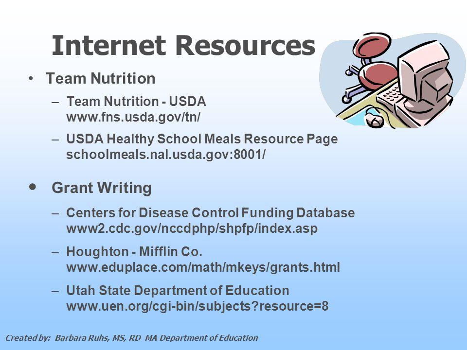 Internet Resources Team Nutrition – –Team Nutrition - USDA www.fns.usda.gov/tn/ – –USDA Healthy School Meals Resource Page schoolmeals.nal.usda.gov:8001/ Grant Writing – –Centers for Disease Control Funding Database www2.cdc.gov/nccdphp/shpfp/index.asp – –Houghton - Mifflin Co.
