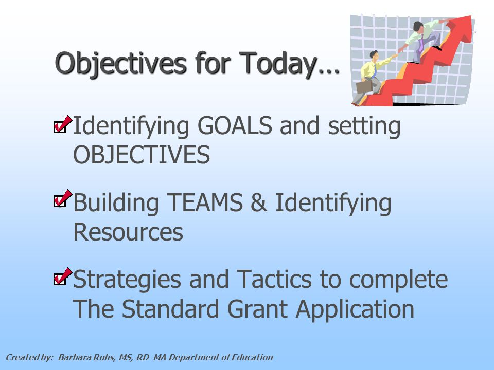 Objectives for Today… Identifying GOALS and setting OBJECTIVES Building TEAMS & Identifying Resources Strategies and Tactics to complete The Standard Grant Application Created by: Barbara Ruhs, MS, RD MA Department of Education