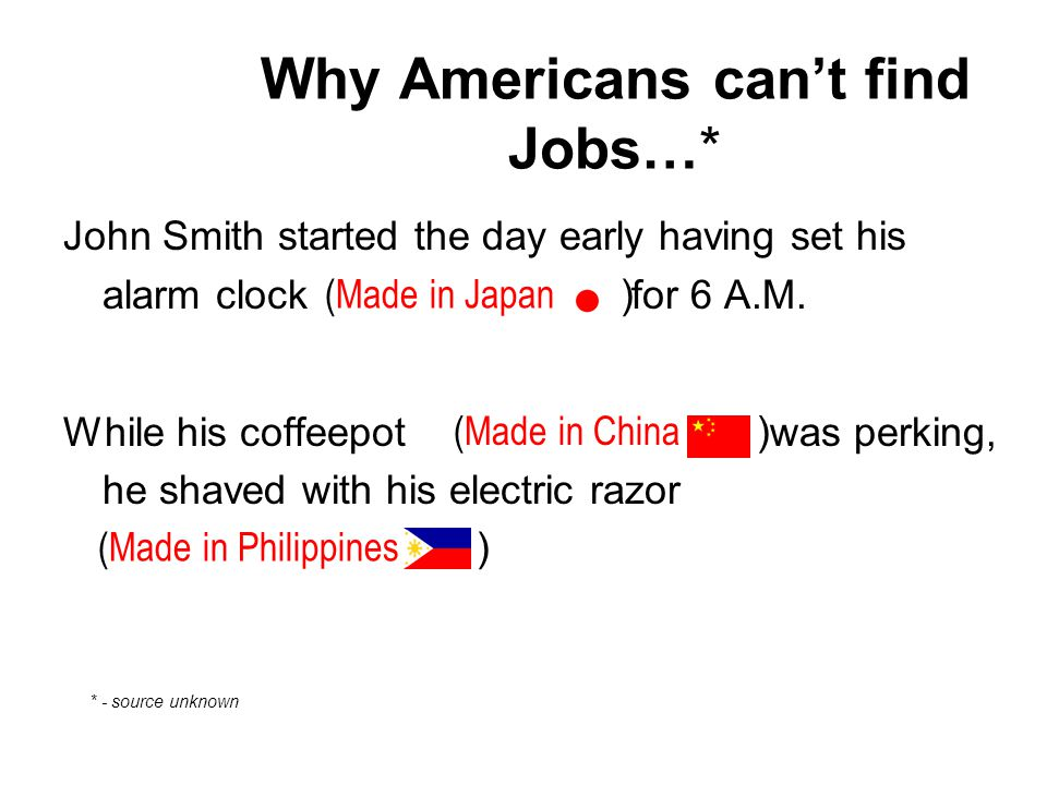 John Smith started the day early having set his alarm clock for 6 A.M. While his coffeepot was perking, he shaved with his electric razor (Made in Jap