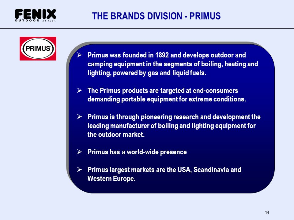 14 THE BRANDS DIVISION - PRIMUS Primus was founded in 1892 and develops outdoor and camping equipment in the segments of boiling, heating and lighting