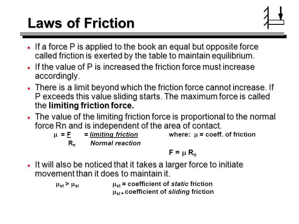 Laws of Friction If a force P is applied to the book an equal but opposite force called friction is exerted by the table to maintain equilibrium. If a