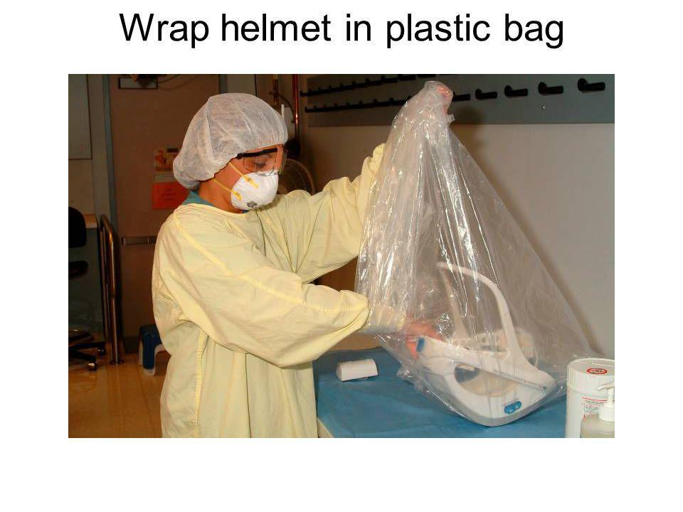 Wrap helmet in plastic bag