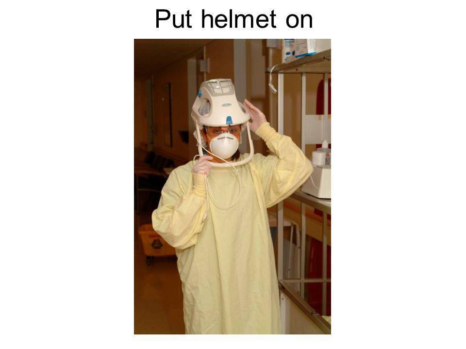 Put helmet on
