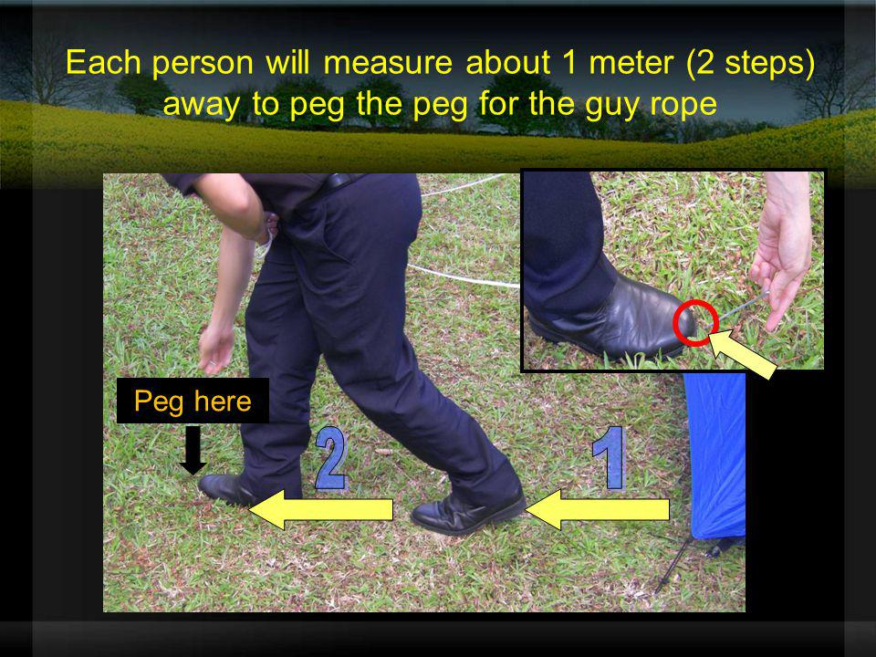 Each person will measure about 1 meter (2 steps) away to peg the peg for the guy rope Peg here