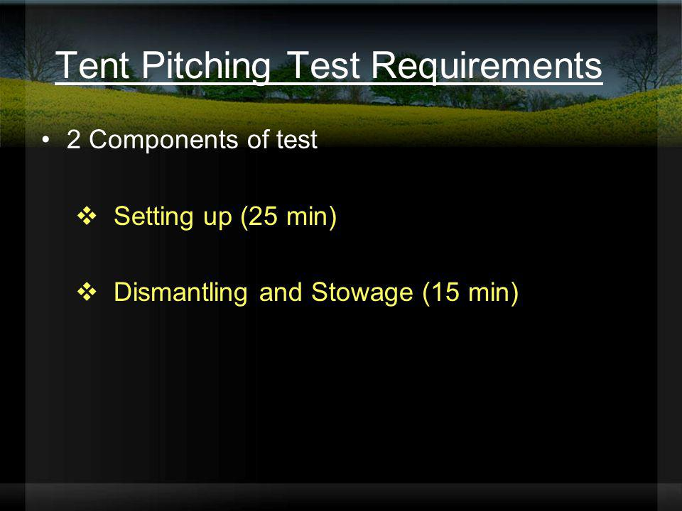 Tent Pitching Test Requirements 2 Components of test Setting up (25 min) Dismantling and Stowage (15 min)