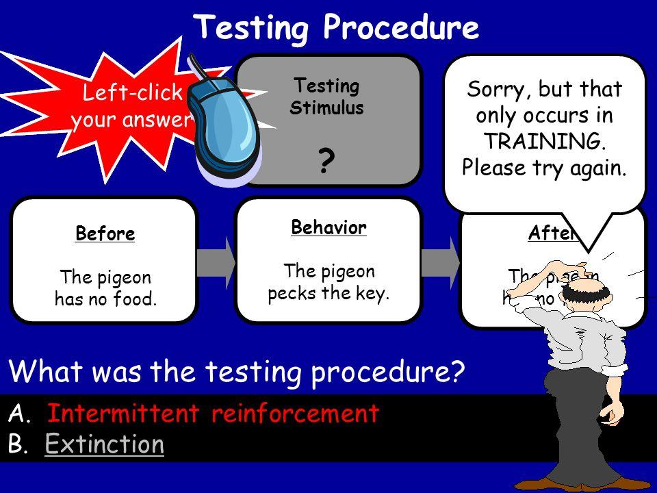 Testing Procedure Behavior The pigeon pecks the key.