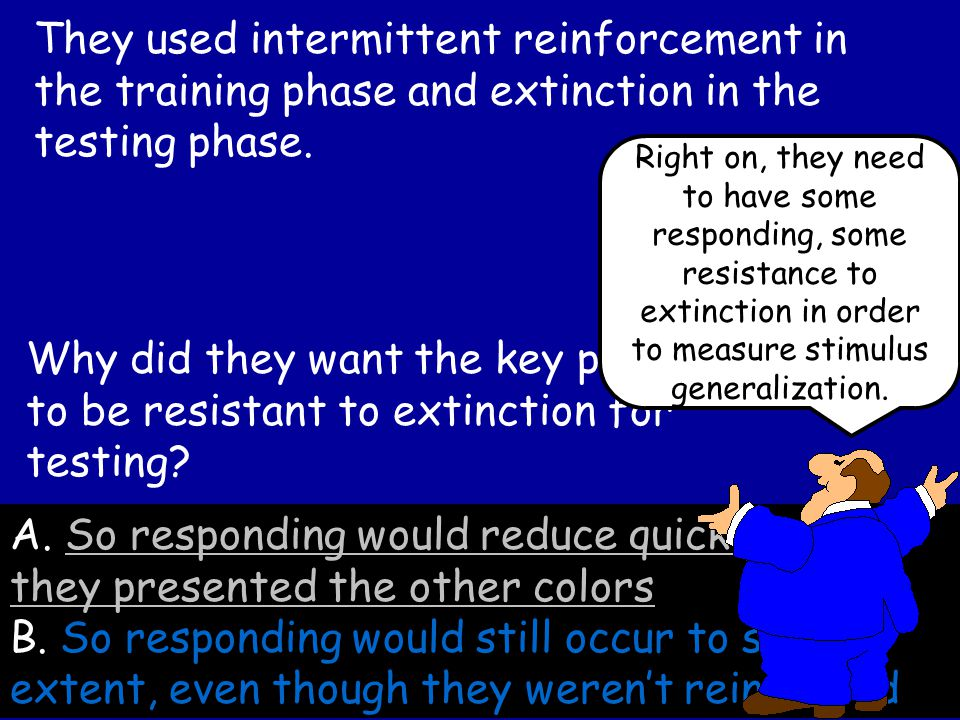 They used intermittent reinforcement in the training phase and extinction in the testing phase.