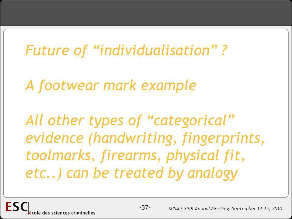 –37– SPSA / SPIR Annual Meeting, September 14-15, 2010 Future of individualisation .