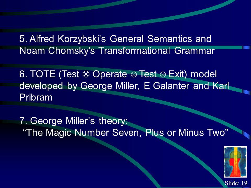 Slide: 19 5. Alfred Korzybskis General Semantics and Noam Chomskys Transformational Grammar 6.