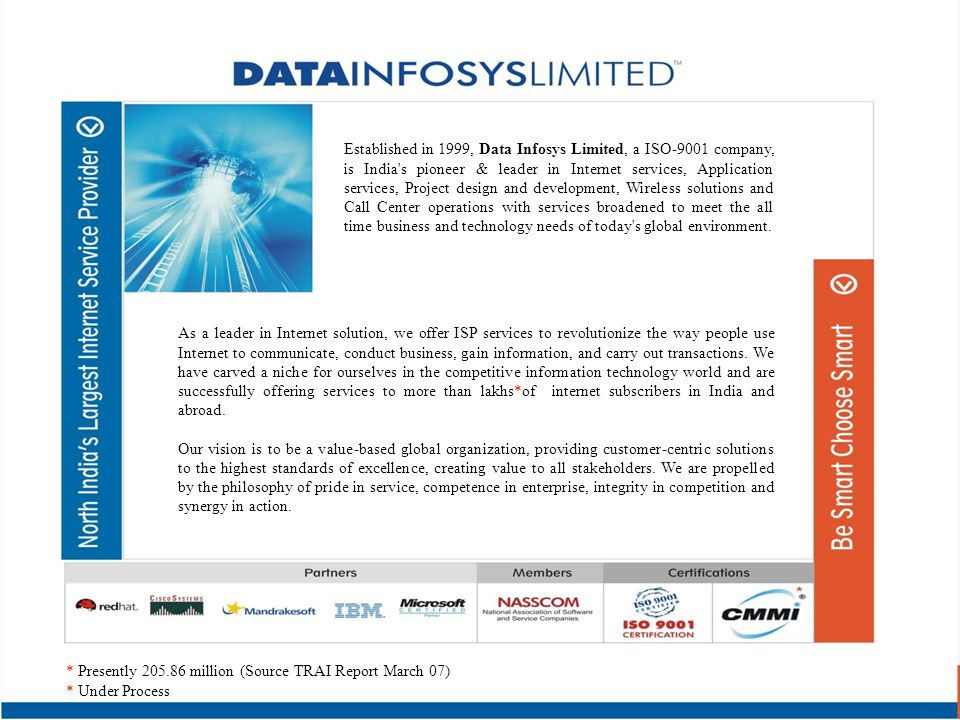 Established in 1999, Data Infosys Limited, a ISO-9001 company, is India's pioneer & leader in Internet services, Application services, Project design