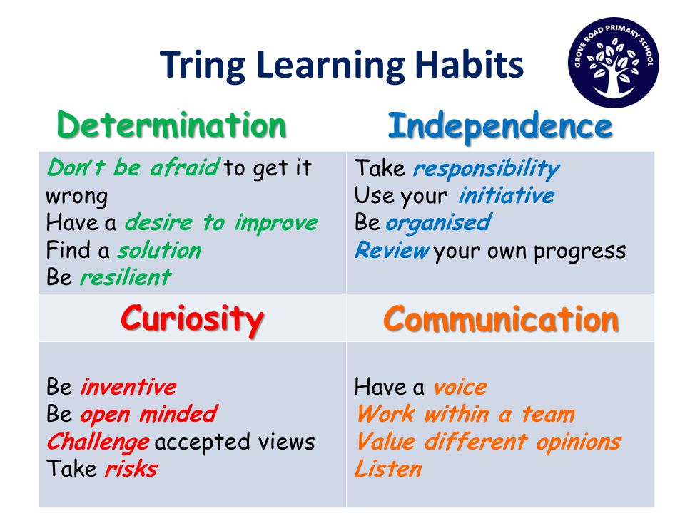 Tring Learning Habits DeterminationIndependence Don t be afraid to get it wrong Have a desire to improve Find a solution Be resilient Take responsibility Use your initiative Be organised Review your own progress CuriosityCommunication Be inventive Be open minded Challenge accepted views Take risks Have a voice Work within a team Value different opinions Listen