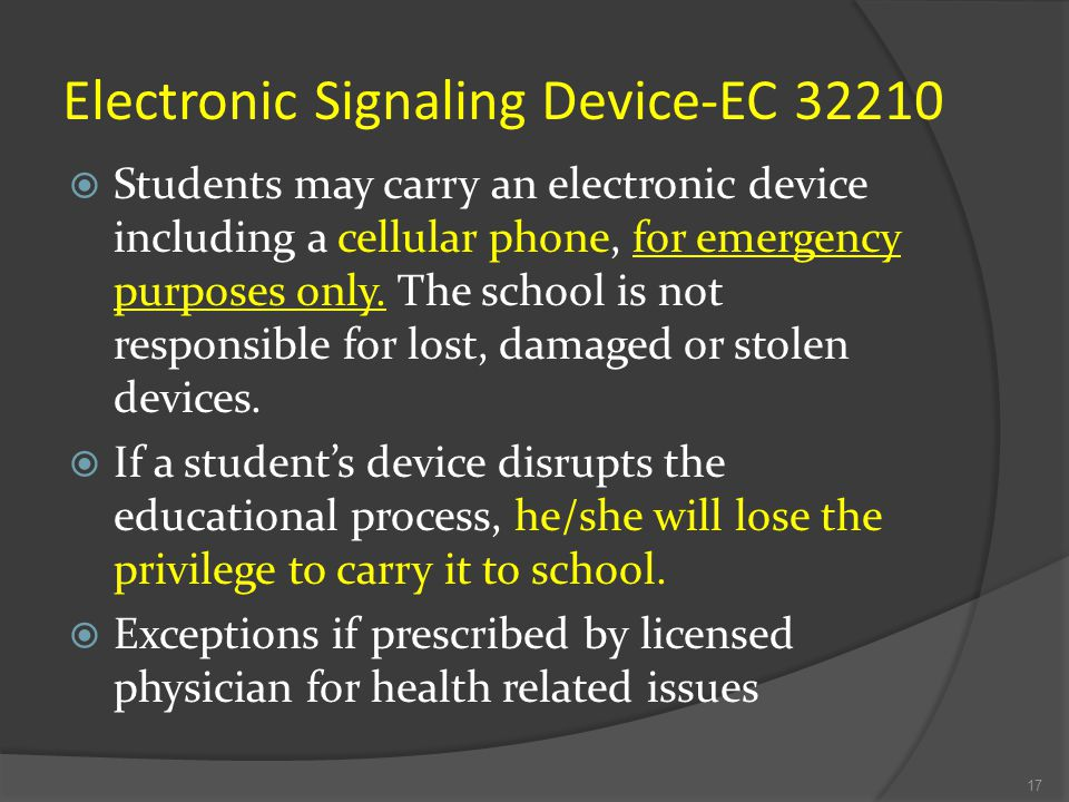 ELECTRONIC DEVICES Radios, cameras, MP3 players, CD players, Gameboy-type portable games, laser pointers, or any other type of electronic devices are NOT allowed on campus.