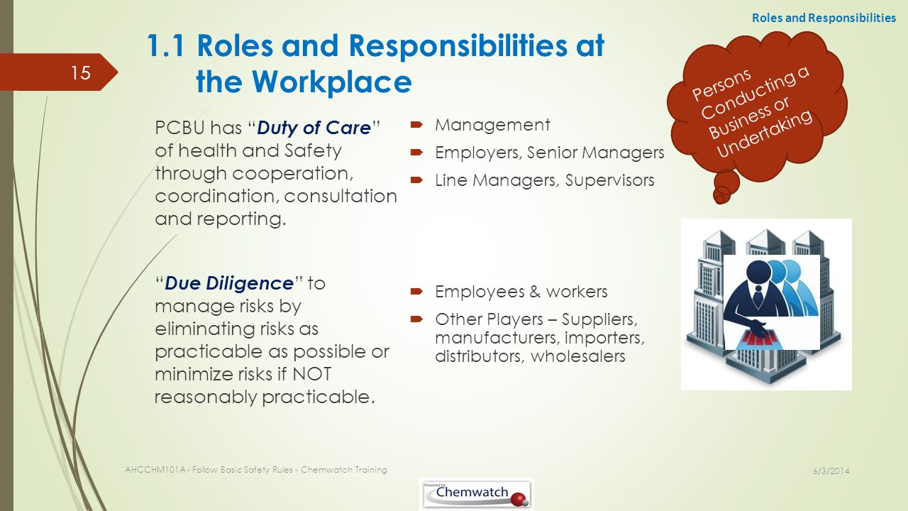 1.1 Roles and Responsibilities at the Workplace Management Employers, Senior Managers Line Managers, Supervisors Employees & workers Other Players – S
