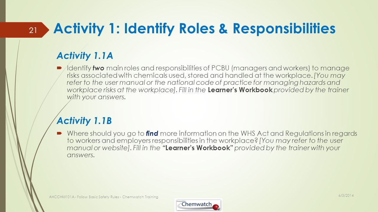 Activity 1: Identify Roles & Responsibilities Activity 1.1A Identify two main roles and responsibilities of PCBU (managers and workers) to manage risk
