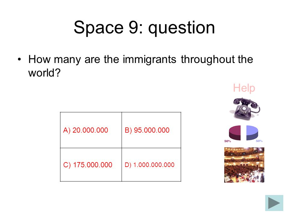 Space 9: question How many are the immigrants throughout the world? Help Α) 20.000.000Β) 95.000.000 C) 175.000.000 D) 1.000.000.000