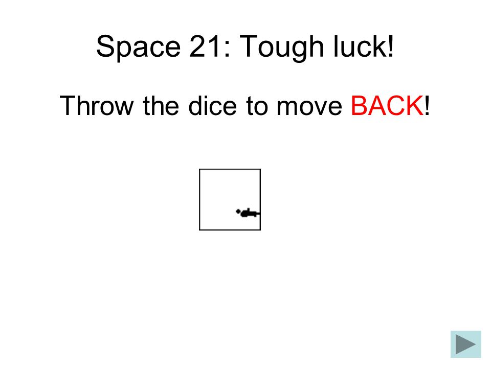 Space 21: Tough luck! Throw the dice to move BACK!