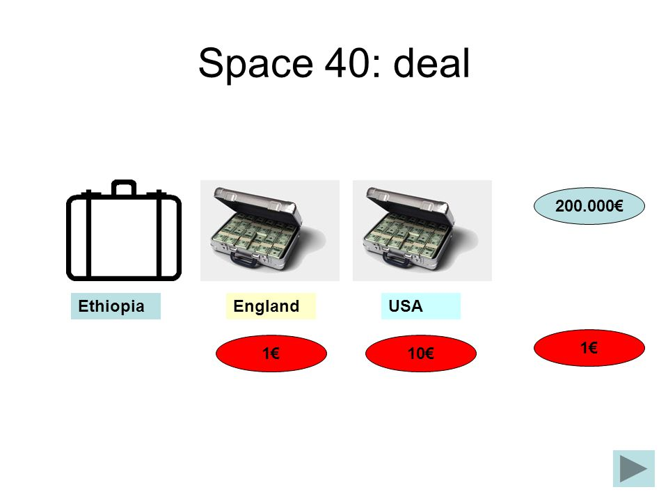 Space 40: deal 10 200.000 1 1 EnglandUSAEthiopia