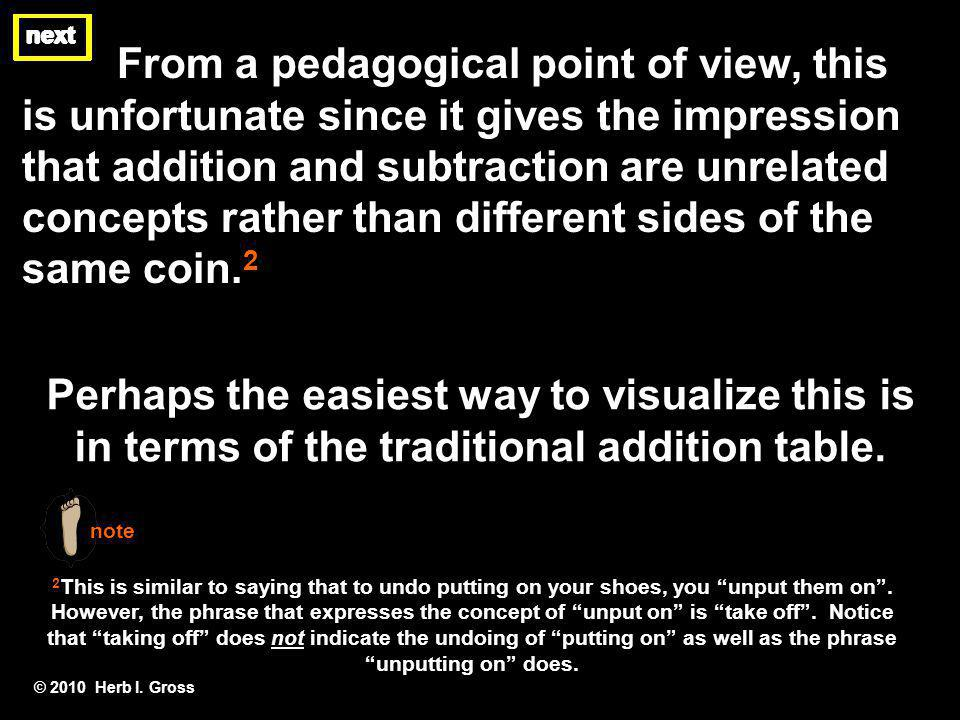 next From a pedagogical point of view, this is unfortunate since it gives the impression that addition and subtraction are unrelated concepts rather t