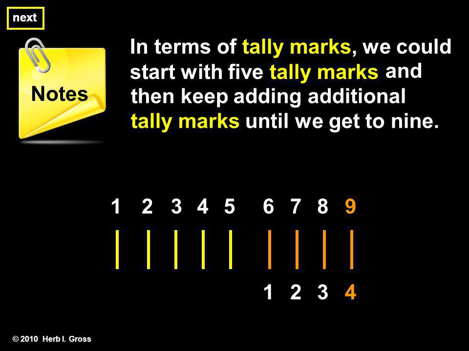 In terms of tally marks, we could start with five tally marks © 2010 Herb I. Gross next Notes and then keep adding additional tally marks until we get