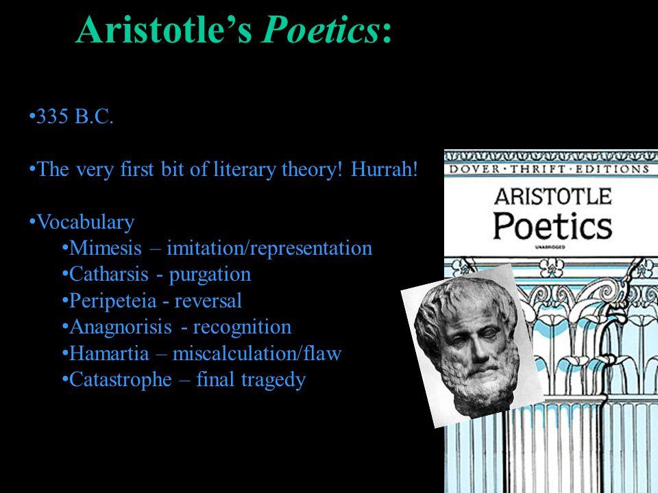 Aristotles Poetics: 335 B.C. The very first bit of literary theory! Hurrah! Vocabulary Mimesis – imitation/representation Catharsis - purgation Peripe