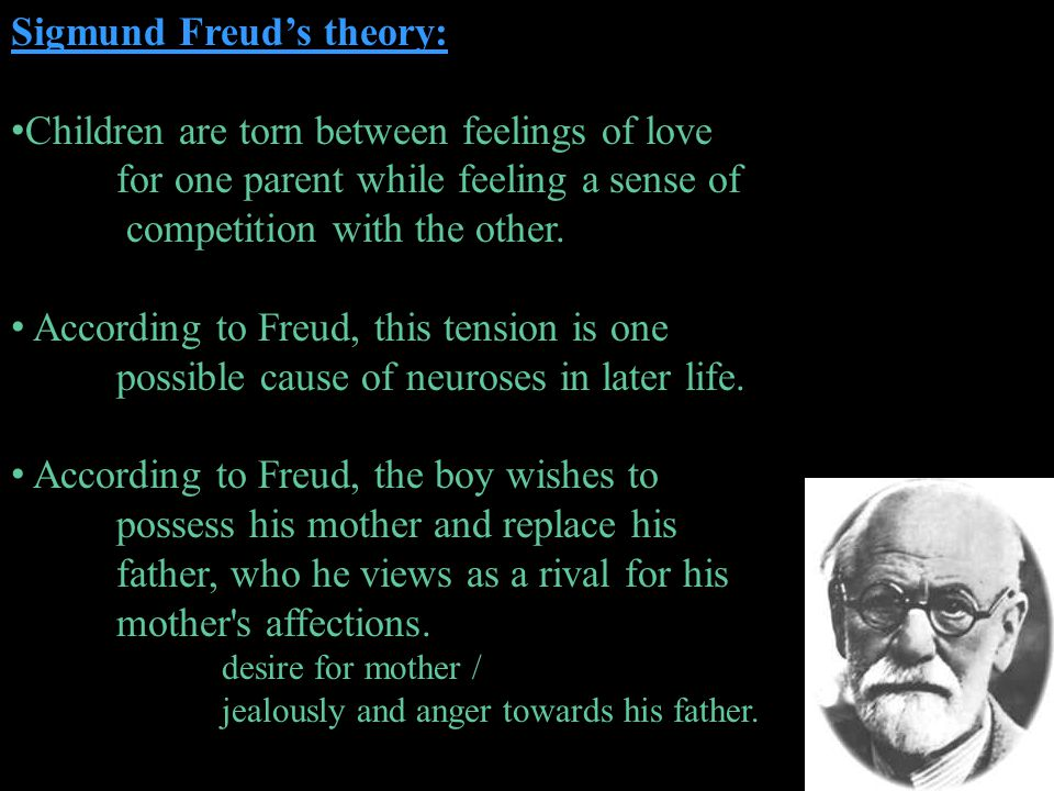 Sigmund Freuds theory: Children are torn between feelings of love for one parent while feeling a sense of competition with the other. According to Fre