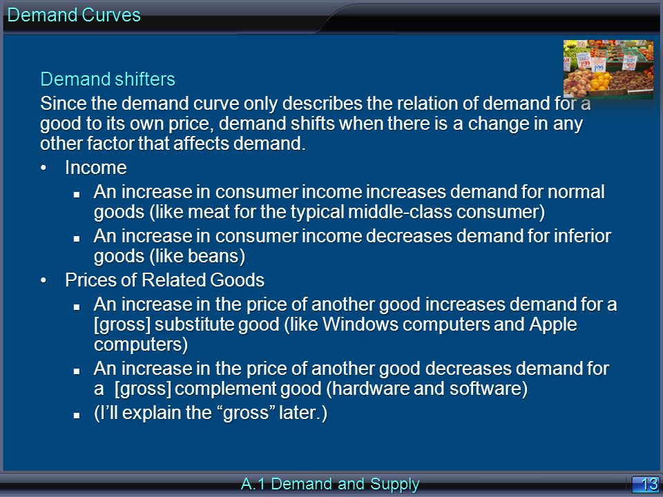 13 Demand shifters Since the demand curve only describes the relation of demand for a good to its own price, demand shifts when there is a change in a