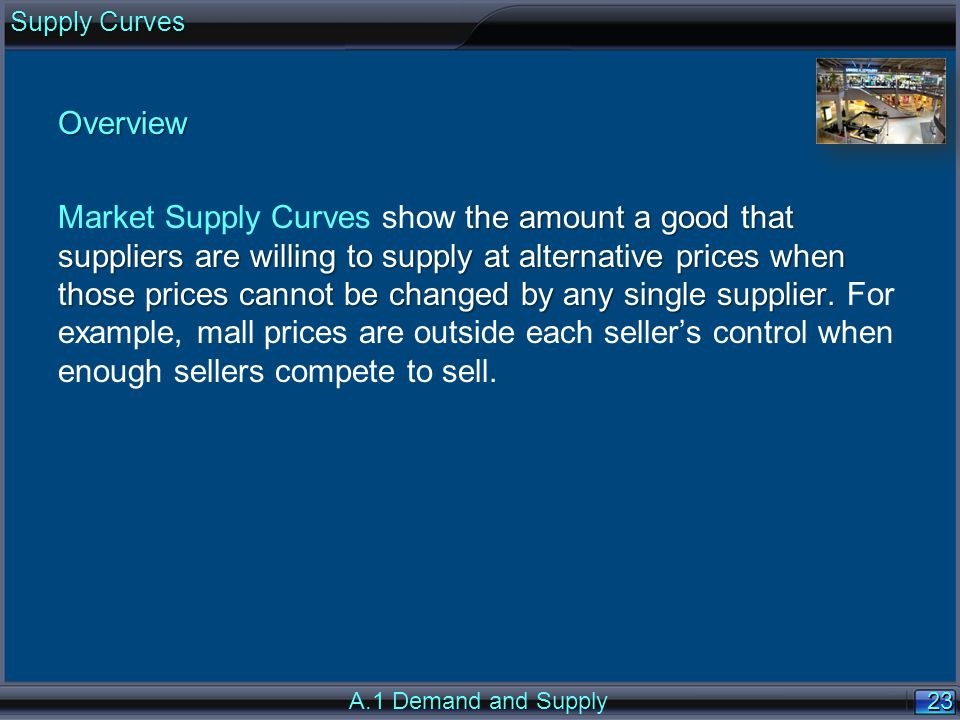 23 Overview the amount a good that suppliers are willing to supply at alternative prices when those prices cannot be changed by any single supplier. M