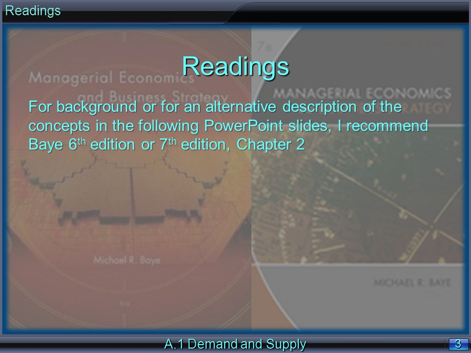 3 3 A.1 Demand and Supply ReadingsReadings For background or for an alternative description of the concepts in the following PowerPoint slides, I recommend Baye 6 th edition or 7 th edition, Chapter 2