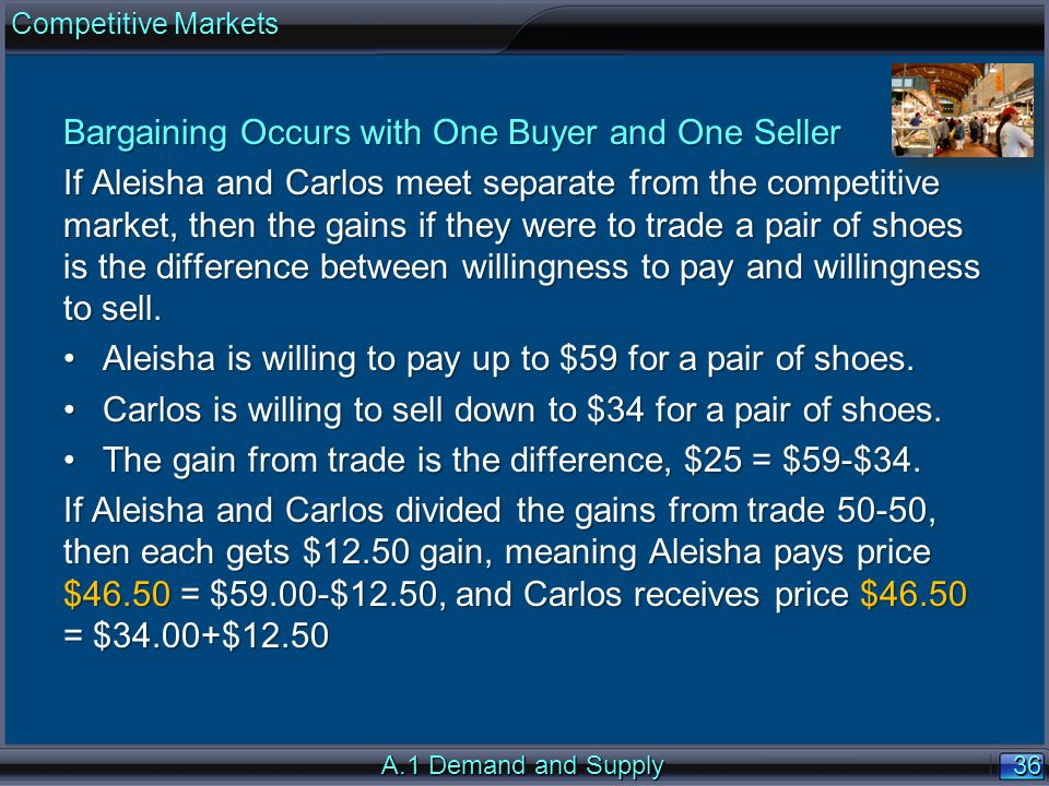 36 A.1 Demand and Supply Bargaining Occurs with One Buyer and One Seller If Aleisha and Carlos meet separate from the competitive market, then the gains if they were to trade a pair of shoes is the difference between willingness to pay and willingness to sell.