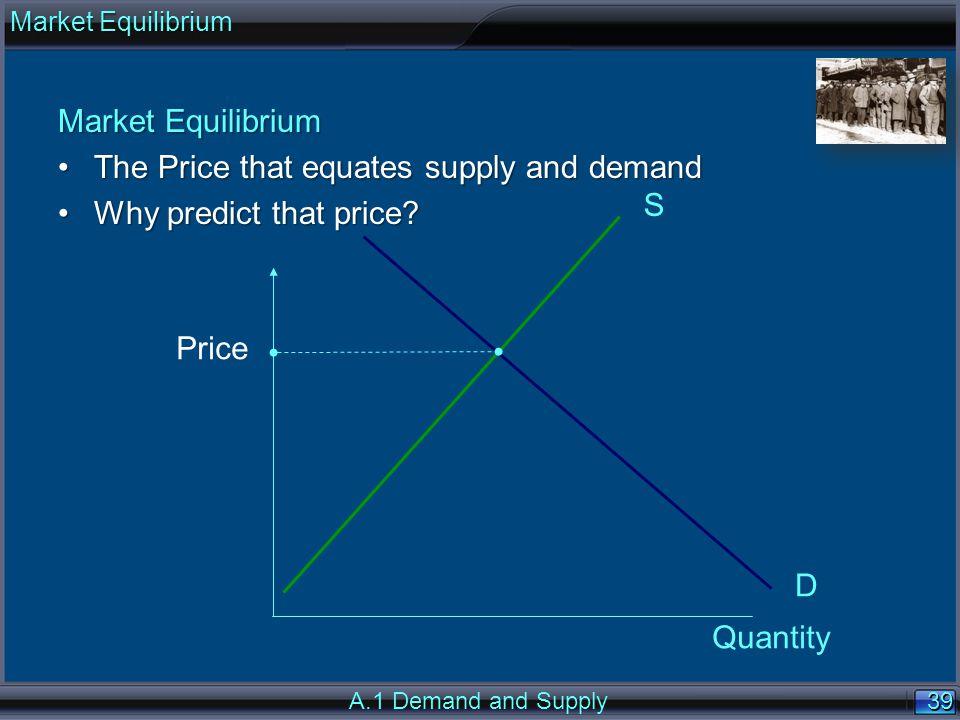 39 Market Equilibrium The Price that equates supply and demandThe Price that equates supply and demand Why predict that price?Why predict that price?
