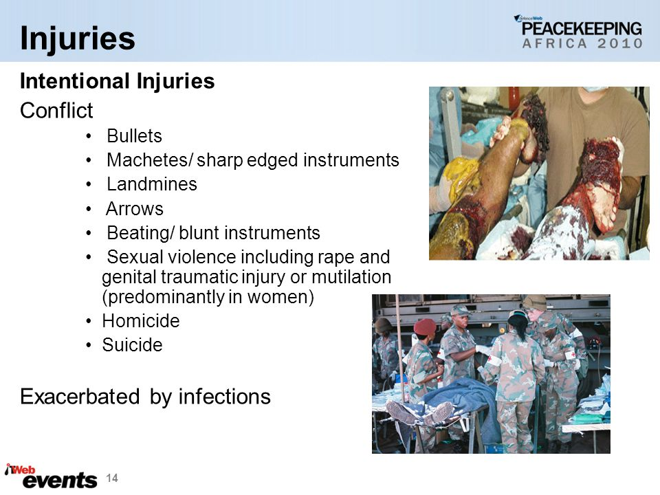 14 Intentional Injuries Conflict Bullets Machetes/ sharp edged instruments Landmines Arrows Beating/ blunt instruments Sexual violence including rape and genital traumatic injury or mutilation (predominantly in women) Homicide Suicide Exacerbated by infections Injuries