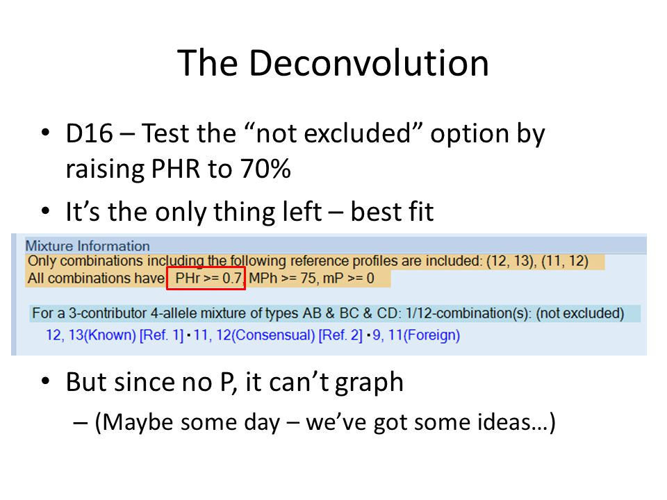The Deconvolution D16 – Test the not excluded option by raising PHR to 70% Its the only thing left – best fit But since no P, it cant graph – (Maybe some day – weve got some ideas…)