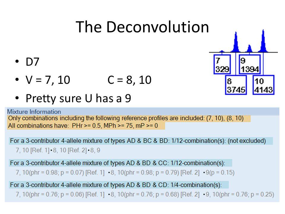 The Deconvolution D7 V = 7, 10 C = 8, 10 Pretty sure U has a 9
