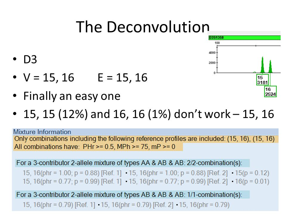 The Deconvolution D3 V = 15, 16 E = 15, 16 Finally an easy one 15, 15 (12%) and 16, 16 (1%) dont work – 15, 16