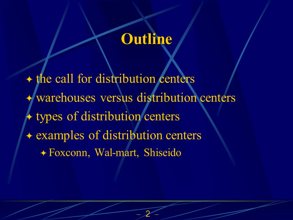 2 Outline the call for distribution centers warehouses versus distribution centers types of distribution centers examples of distribution centers Foxc