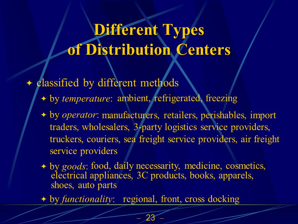 23 Different Types of Distribution Centers classified by different methods by temperature: by operator: by goods: by functionality: ambient, refrigera