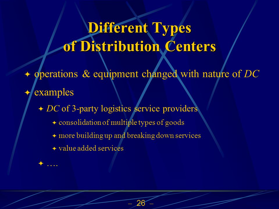 26 Different Types of Distribution Centers operations & equipment changed with nature of DC examples DC of 3-party logistics service providers consoli