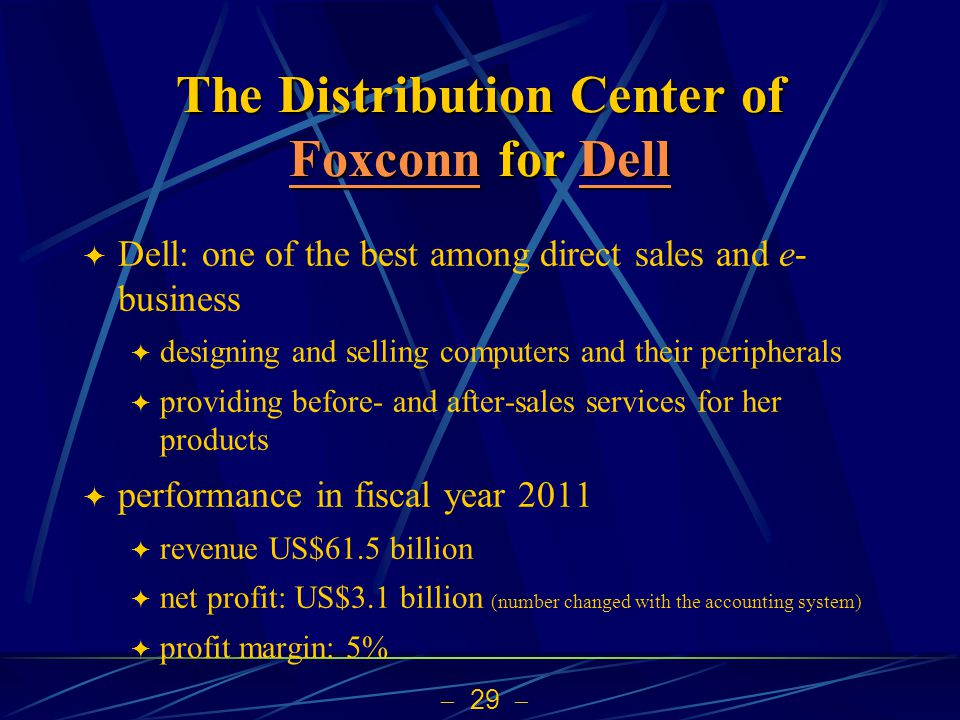 29 The Distribution Center of Foxconn for Dell FoxconnDell FoxconnDell Dell: one of the best among direct sales and e- business designing and selling computers and their peripherals providing before- and after-sales services for her products performance in fiscal year 2011 revenue US$61.5 billion net profit: US$3.1 billion (number changed with the accounting system) profit margin: 5%