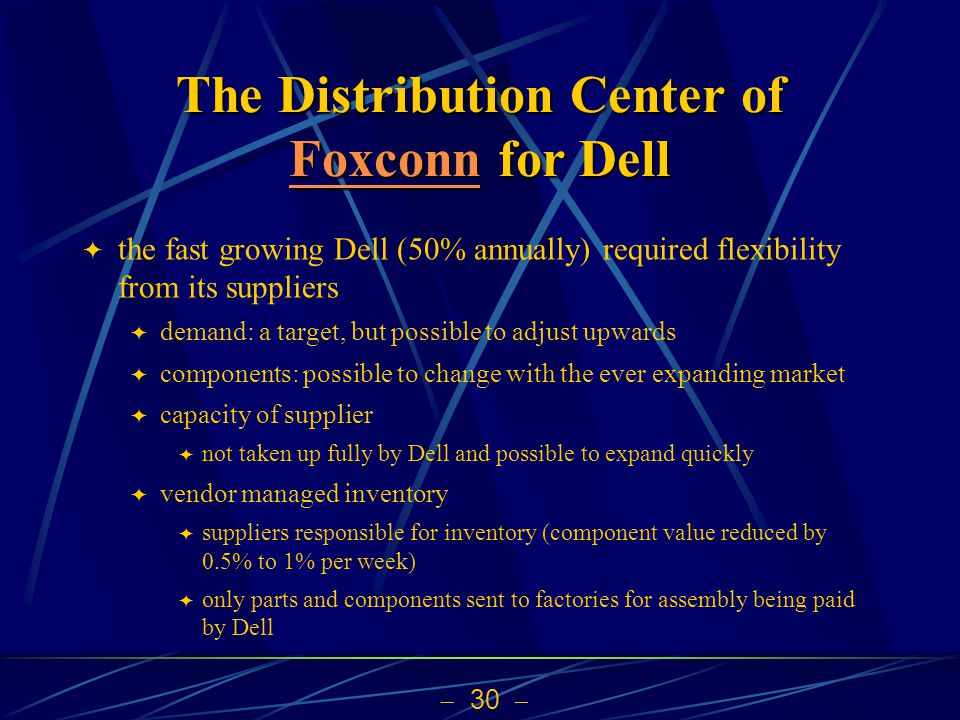 30 The Distribution Center of Foxconn for Dell Foxconn the fast growing Dell (50% annually) required flexibility from its suppliers demand: a target, but possible to adjust upwards components: possible to change with the ever expanding market capacity of supplier not taken up fully by Dell and possible to expand quickly vendor managed inventory suppliers responsible for inventory (component value reduced by 0.5% to 1% per week) only parts and components sent to factories for assembly being paid by Dell