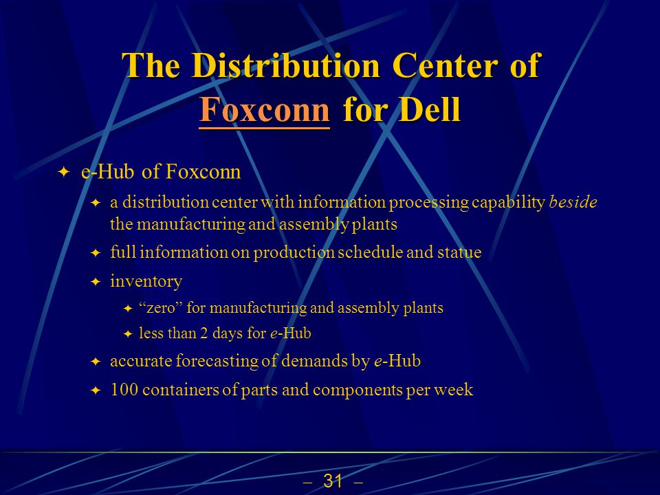 31 The Distribution Center of Foxconn for Dell Foxconn e-Hub of Foxconn a distribution center with information processing capability beside the manufa