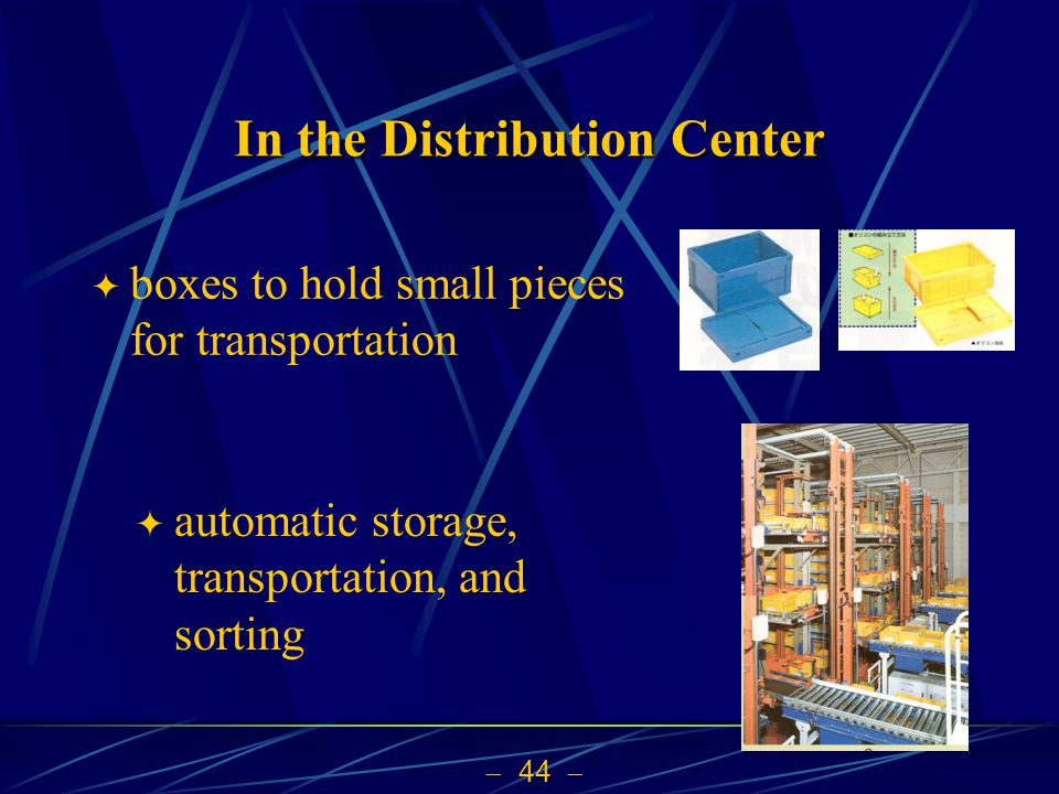 44 In the Distribution Center boxes to hold small pieces for transportation automatic storage, transportation, and sorting