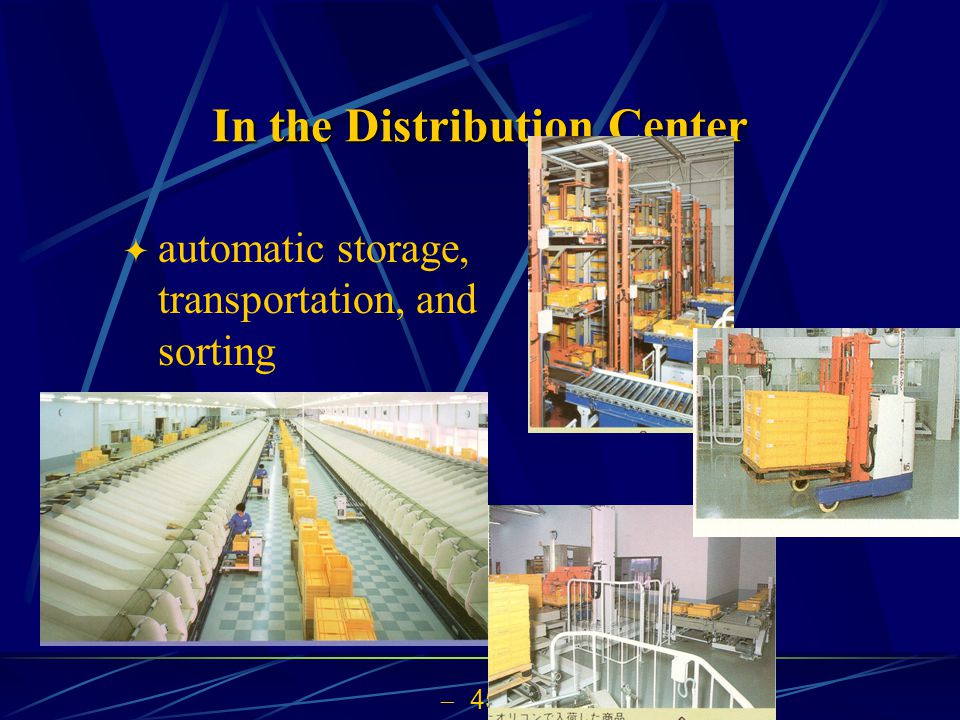 45 In the Distribution Center automatic storage, transportation, and sorting